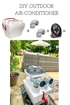 The summer months can be unbearably hot! Enjoy the outdoors, even in the heat, with this DIY swamp cooler, air-conditioner using an inexpensive styrofoam cooler, ice, and a fan. #diyac #diyairconditioner #summerheat #outdoorentertaining #lifehack Diy Swamp Cooler, Diy Ac, Diy Air Conditioner, Outdoor Furniture Sets, Outdoor Decor, Outdoor Patios, String Lights Outdoor, Diy Camping, Outdoor Living Areas