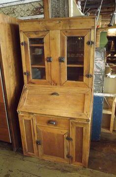 Antique Oak Secretary w Original Hardware – Salvage One