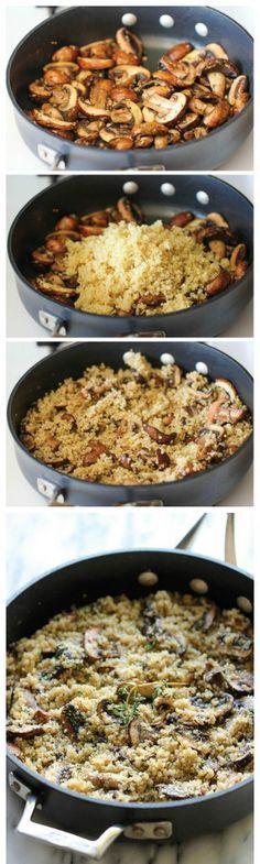 Quinoa com cogumelos e alho