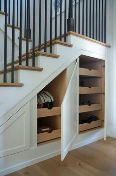 Staircase Drawers, Small Staircase, Foyer Staircase, Staircase Storage, Staircase Handrail, Wooden Staircases, Entrance Foyer, Stairways, Under Staircase Ideas