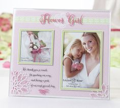 "She'll always remember how she shined like a star in your wedding ceremony when you present her with this Flower Girl Picture Frame! Features ""Flower Girl"" painted in pink at the top and flowers in the bottom corner. Written in black is the following phrase: ""We thank you so much for guiding our way and being a part of our most special day!""Size: Frame measures 8.5"" 7.5"" and holds one 3.5"" x 5"" photo and one 3"" x 3"" photo."