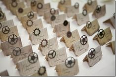 Place Cards#Steampunk Wedding ... Wedding ideas for brides & bridesmaids, grooms & groomsmen, parents & planners ... https://itunes.apple.com/us/app/the-gold-wedding-planner/id498112599?ls=1=8 … plus how to organise an entire wedding, without overspending ♥ The Gold Wedding Planner iPhone App ♥