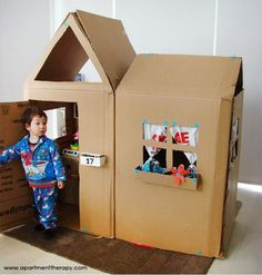 Eco Housekeeping Tip #36: Cardboard can be reused a ton of different ways before being recycled!    1. Cardboard is perfect for making forts with your kids.  2. Save some green when you paint by using cardboard as a drop cloth.  3. Got a green thumb? Kneel or sit on a piece of cardboard while gardening to keep you clean.  Did we miss something? Share it in the comments! #diy #housekeeping #tips #children