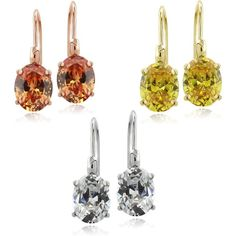 ICZ Stonez Sterling Silver Oval Cubic Zirconia Leverback Earrings Set... ($30) ❤ liked on Polyvore featuring jewelry, earrings, multicolor earrings, multi colored earrings, tri color earrings, cz earrings and colorful earrings