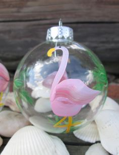 Tropical-Glass-Ornament-Hand-Painted-Palm-Tree-Pink-Flamingo-Christmas