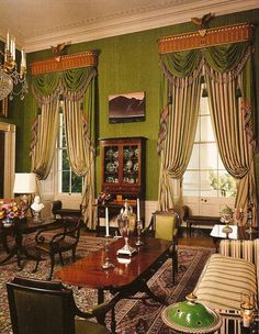 White House Green room, green moire walls. Interior design by Ken Blasingame