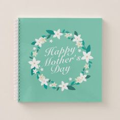 Elegant Mother's Day Floral Wreath | Notebook - floral style flower flowers stylish diy personalize