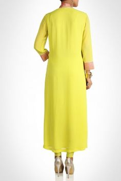 Beautiful yellow kurta with gota work