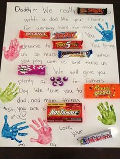 father's day card made with candy   ... is the poster board card that my kids made for Father's Day. It reads