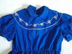 robe fille vintage coton bleu roi par petitefillemodele sur Etsy