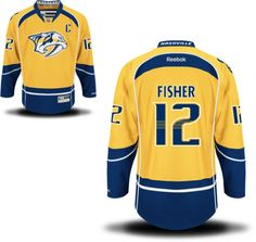 Men's Nashville Predators #12 Mike Fisher Yellow Home C Patch Stitched NHL Reebok Hockey Jersey