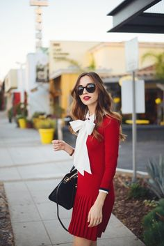 red long sleeve sweater dress M Loves M @marmar
