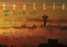 Eu vejo minha antiga casa no Google mapas e choro. Eu odeio o Arizona.