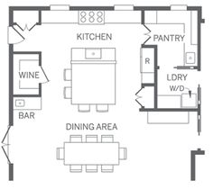 Pretty good kitchen layout includes pantry, laundry and dining.