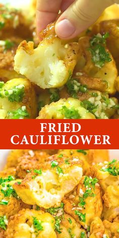 Simple, tender, and seriously addictive, this Fried Cauliflower is a staple at my home. Made with only 4 ingredients, th Veggie Dishes, Veggie Recipes, Food Dishes, Appetizer Recipes, Vegetarian Recipes, Cooking Recipes, Healthy Recipes, Vegetarian Appetizers, Vegetarian Lunch