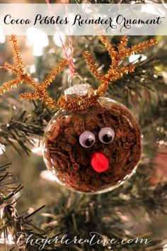 Cocoa Pebbles Reindeer Ornament - fun craft idea to do with your family. Great gift idea too! Kids Christmas Ornaments, Christmas Crafts For Kids To Make, Simple Christmas, Holiday Crafts, Christmas Diy, Christmas Decorations, Reindeer Christmas, Christmas Games, Reindeer Craft
