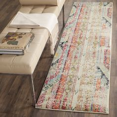 "AmazonSmile: Safavieh Monaco Collection MNC222F Modern Bohemian Multicolored Distressed Runner (2'2"" x 6'): Kitchen & Dining"