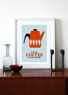 Kitchen art Catherineholm poster print Mid Century Modern retro enamelware coffee tea office print - It's Coffee O'clock Red A3