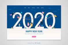 Flat design new year landing page Free Vector New Year Card Design, New Year Illustration, New Year Postcard, New Years Poster, Vector Free Download, Happy New Year 2020, Postcard Design, Self Love Quotes, Flat Design