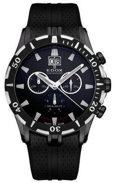 Edox Grand Ocean Chronodiver Big Date Chronograph Black PVD Mens Luxury Sport Watch 10022-37N-NIN - http://uhr.haus/edox/edox-grand-ocean-chronodiver-big-date-black-pvd