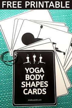 Yoga Poses For Kids: Printable Body Awareness Cards. Great for Brain Breaks. A super set of printable cards featuring kids yoga poses. Great for spatial awareness and body control. Perfect for brain breaks or as a mindfulness tool. Kids Yoga Poses, Yoga For Kids, Preschool Age, Preschool Activities, Pranayama, Asana, Hard Yoga, Fun Brain, Shaped Cards