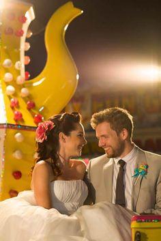 Couture Funfair - Carnival  wedding. Rainbow - Rockabilly Wedding. Unique Fair Ride
