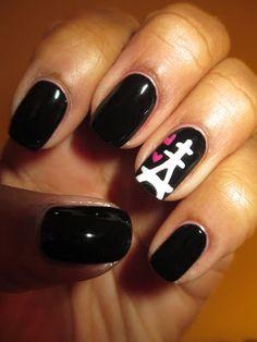 Valentine inspired, Valentine's Day, Eiffel Tower, hearts, nails, nail art, nail design, mani