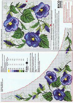 fiori blu punto croce tovaglie