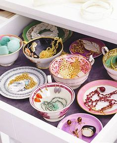 Use vintage teacups to store jewelry and other trinkets
