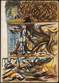 """Untitled - c1938-1941 - Colored pencils and graphite on paper - 14 1/4"""" X 10"""" - Metropolitan Museum of Art New York - Copyright ARS"""