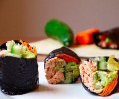 Simple Salmon Veggie Nori Rolls Rice-Free Recipe   Paleo inspired, real food