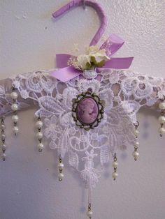 Victorian hanger, padded hanger, satin hanger, home decor, lavender