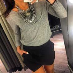 Whole outfit - statement necklace, grey long-sleeve, black shorts!