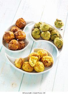 Gougères aux légumes verts et aux pignons, Gougères tomate à la mimolette et Gougères curry à la feta et au romarin | A Vos Assiettes