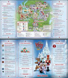 The biggest event held during the holidays is Mickey's Very Merry Christmas Party which takes place on select evenings at Magic Kingdom. Here are the details. Disney Very Merry Christmas, Disney World Christmas, Mickey Christmas, Christmas 2019, Disney Map, Disney World Map, Disney Cruise, Disney Stuff, Disney Mickey
