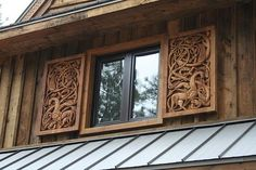 Inspired by the carvings from the old Stave Church at Urnes, Norge, these magnificent shutters were hand carved in Java to exacting detail f...