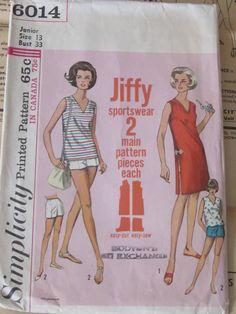 Vintage Jiffy Sportswear Simplicity Printed Pattern 6014 (1965) by mariehotdeals on Etsy