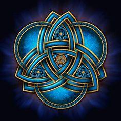 Blue & Gold Celtic Double Triquetra - Naumaddic Arts