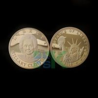 2016 Free Shipping 1pcs/lot  American Hillary Clinton 24K gold metal Gold coin high quality gold plated coins