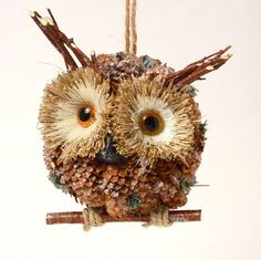 OWL LOVERS!! PINE CONE WIDE-EYED STICK OWL ON PERCH CHRISTMAS ORNAMENT NEW Woodland Christmas, Christmas Home, Christmas Crafts, Christmas Ornaments, Christmas Ideas, Autumn Crafts, Nature Crafts, Pine Cone Decorations, Owl Crafts