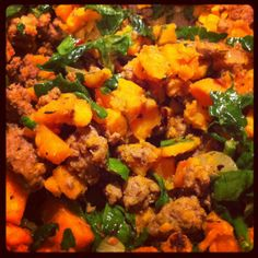 Paleo Sweet Potato and Ground Beef Hash -- made this for dinner, mixed in egg whites with the hash and then one fried egg on top. Next time add more sweet potato (I ran out) and make sure you have spinach before you start cooking :P