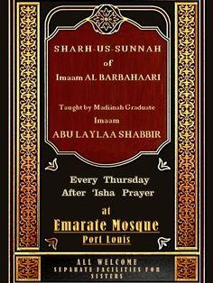L'islaam C'est cequi Le Prophete et so bans swahaabah fine enseigne nous  par imaam abu laylaa shabbir  masjid emarate , port louis , chaque Jeudi , apres swalaat 'isha.