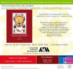 """Invitación a la presentación del libro """"El viaje a México de Hilarión de Bérgamo"""""""