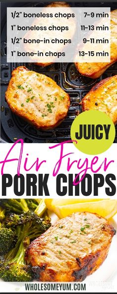 An EASY, bone-in or boneless air fryer pork chops recipe, ready in 20 minutes! Learn how to cook pork chops in the air fryer so they stay juicy. #wholesomeyum Air Fryer Dinner Recipes, Low Carb Dinner Recipes, Air Fryer Recipes, Air Fry Pork Chops, Fried Pork Chops, Real Food Recipes, Keto Recipes, Cooking Recipes, Recipe With 10 Ingredients