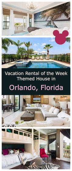 Wondering where to stay in Orlando? How about this Vacation Rental with Themed Rooms just six miles from Disney World. It's like living in the Magic Kingdom. Holiday villa with pool, game room, 5 bedrooms, 5.5 baths. Great for your family travel to Walt Disney World and you big meet up with Mickey.
