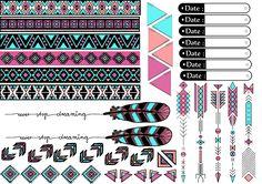 inspiration azteque à imprimer chez soi et découper pour décoer les planners-organiseurs des planner addict
