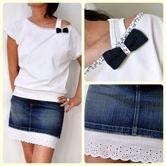 top en jersey blanc, jupe en jeans et broderie anglaise, ou, comment rallonger une jupe trop courte....