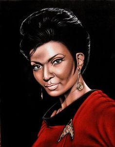 From The Enterprise: The Venerable Lieutenant - Nyota Uhura, of the 1960's Sci-fi TV series 'Star Trek', was beautiful actress Nichelle Nichols, now 82, from Robbins Illinois.