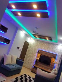 Navi Mumbai flat: Living room by Creative Focus Home Hall Design, Hall Interior Design, Home Lighting Design, Flat Interior, False Ceiling For Hall, False Ceiling Living Room, Ceiling Design Living Room, False Ceiling Ideas, Kitchen Room Design