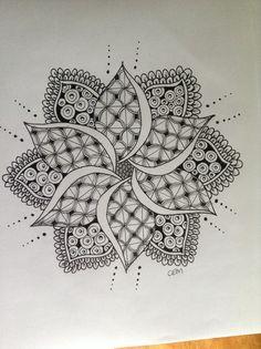 Monday's Mandala - #zentangle #zendoodle #zendala #mandala #art #drawing #pen #sharpie #graphite more at www.facebook.com/ChrissieMurphyDesigns